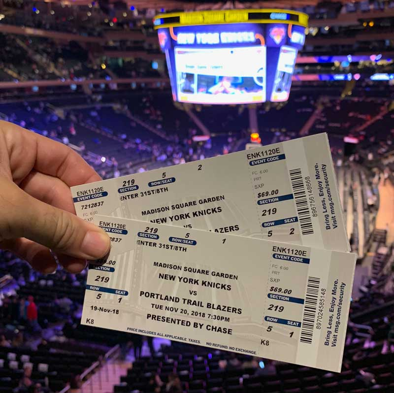 ingressos para o new york knicks